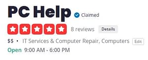 5 Star Yelp Reviews for PC-Help Hurst